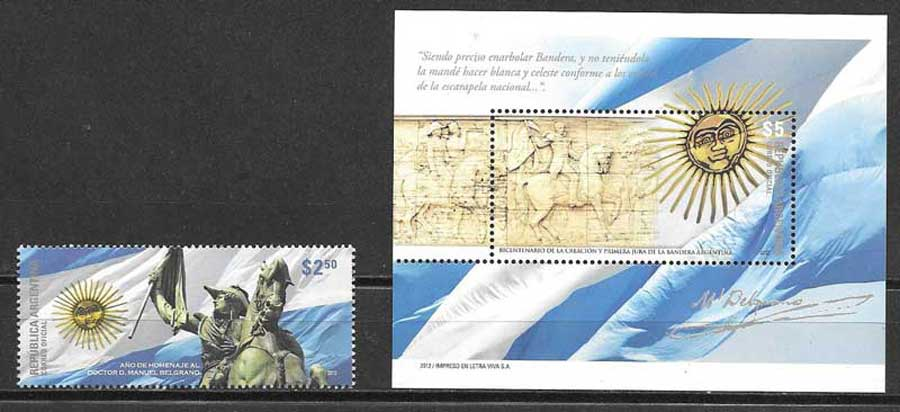 Philately Argentine flag 2012