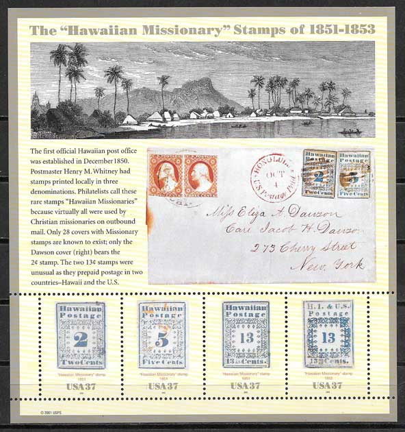 Stamps first issues Hawaii USA 2002