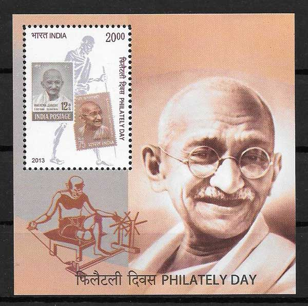 India Gandhi personality philately stamps 2013