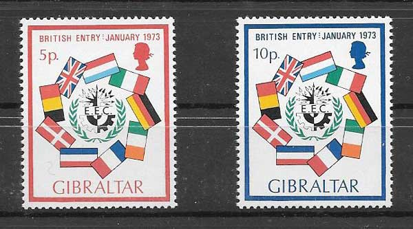 Gibraltar Philatelic Britain 1973 entry to the EU