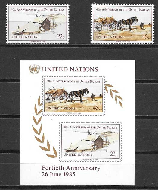 Stamp collection 1985 United Nations 40th Anniversary