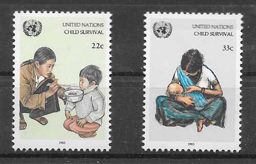 United Nations stamps collection 1985 Child Survival