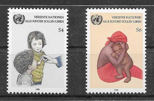 United Nations stamps 1985 child survival