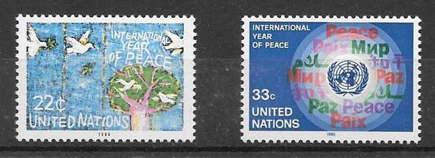 Stamps philately United Nations International Year Peace philately 1986