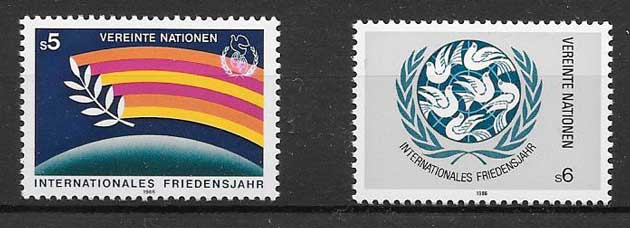 Stamps United Nations 1986 International Year of Peace.