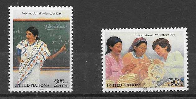 Stamps United Nations International Year Volunteers 1988
