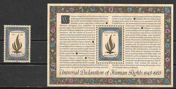 United Nations stamps collection rights Man 1988