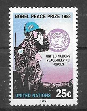 United Nations stamps collection Nobel Peace Prize 1988.
