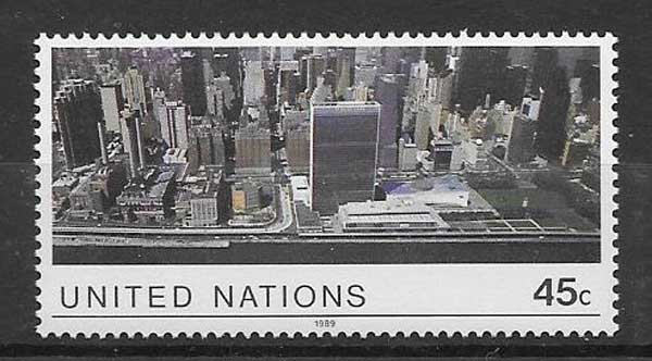 United Nations philately 1989 aerial view