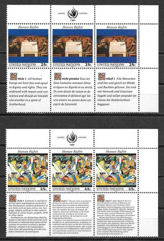 Philately United Nations Declaration Rights of Man 1989