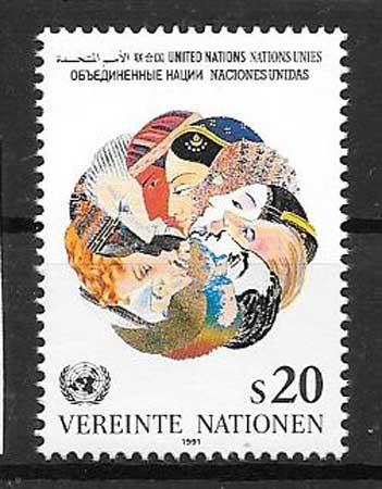 United Nations stamps collection heads of different races