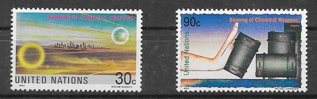 United Nations philatelic stamps Prohibition of Chemical Weapons 1991