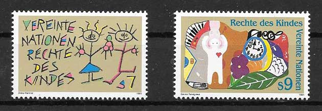 United Nations stamps collection 1991 infants Rights