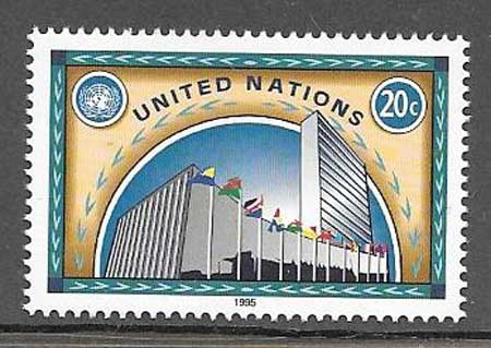 Philately buildings and United Nations flag 1995