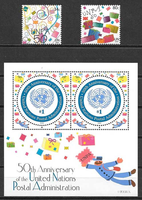 Stamp Collection 50th Anniversary United Nations Postal Administration 2001