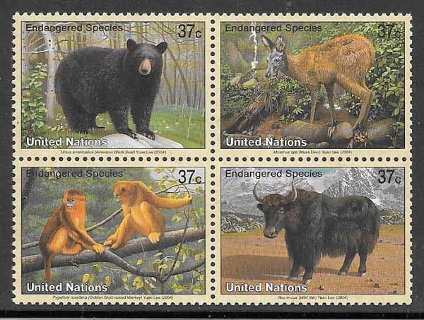Stamps United Nations fauna 2001