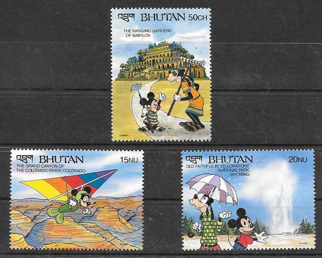 Disney philately 1990 Bhutan wonders of the world