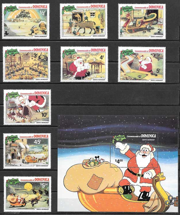 Disney stamp collection 1981 Christmas Dominica