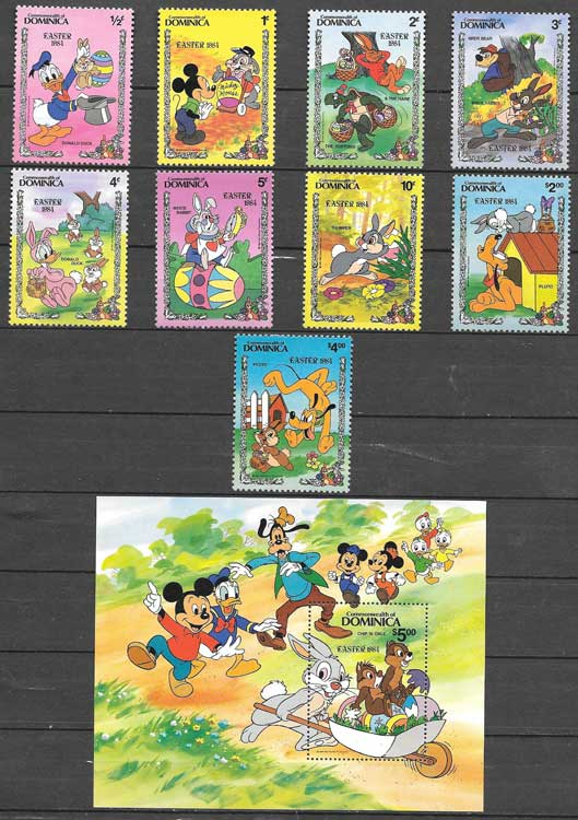 Disney Stamps Dominica Jeannot 1984 Easter rabbits