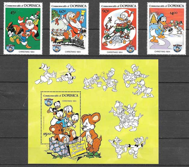 Disney Stamps Dominica Christmas 1984