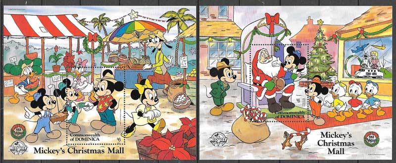 Dominica Christmas 1988 Disney philately