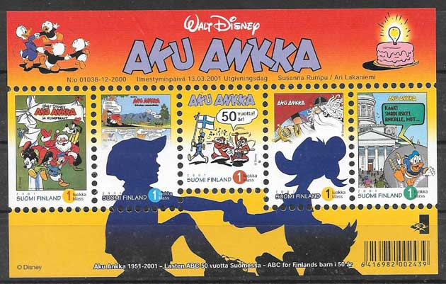 Disney Collection stamps Finland 2001 centennial magazine