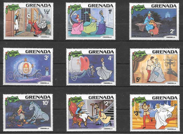 1981 Grenada stamps collection Disney Cinderella