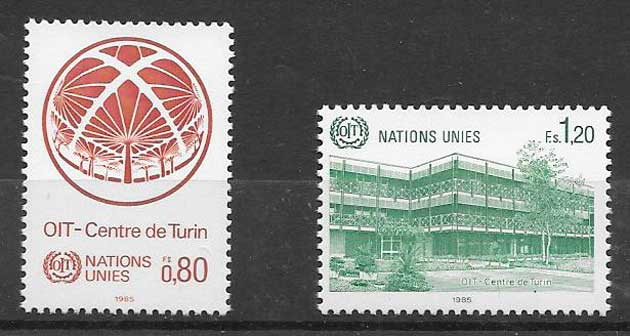 Stamp collection 1985 United Nations Office in Turin