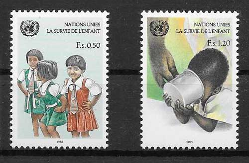 Children stamps collection 1985 United Nations protection