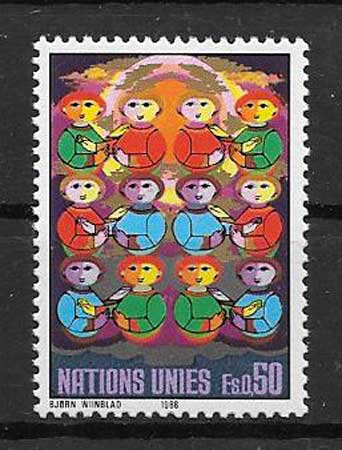 Year 1986, series of 2 stamps no. 145 - 46 of Catalog Yvert, value 4.30€. International Year of Peace.