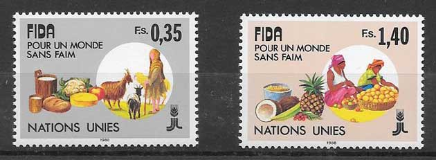 Stamps 1988 United Nations Fund Agriculture.