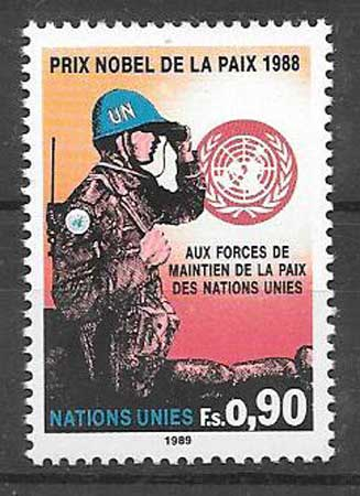 United Nations philatelic collection 1989 Nobel Peace Prize