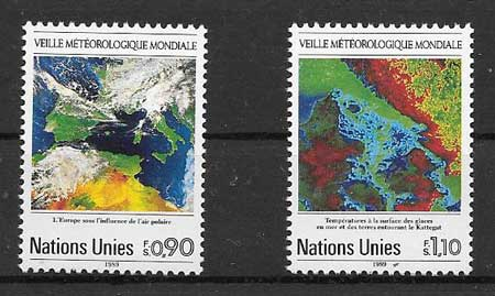 United Nations stamps collection 1989 Meteorology
