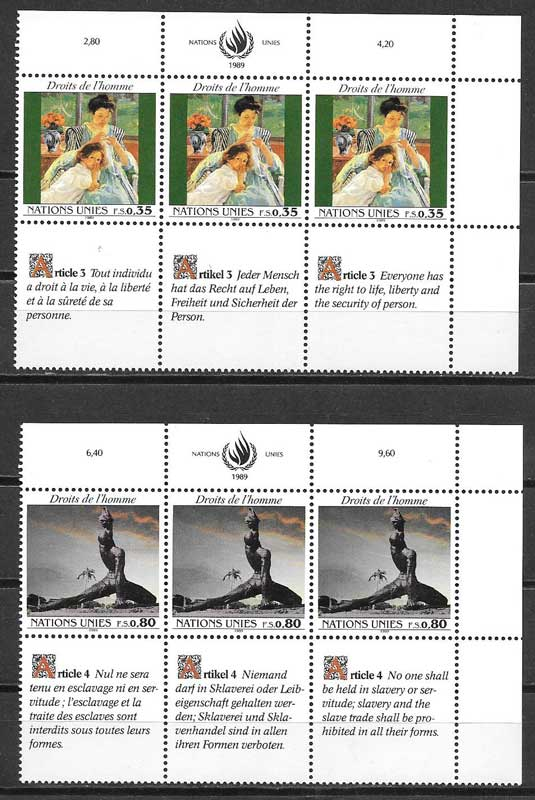 Stamp collection 1989 United Nations declaration rights man