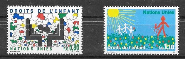 1991 United Nations stamps infants rights