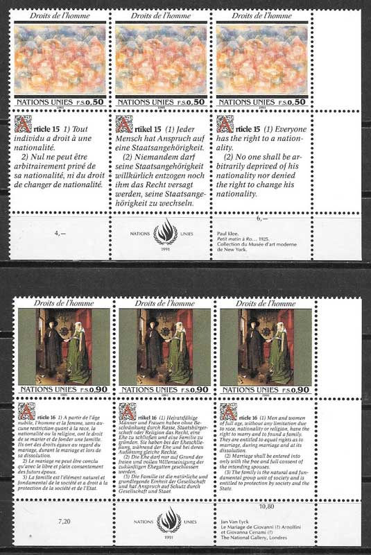 United Nations stamps collection 1991 men rights declaration