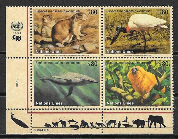 Stamps Fauna United Nations 1994