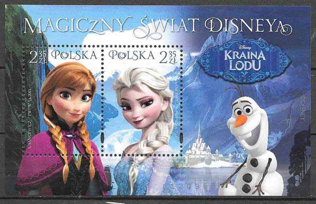 2015 Poland stamps collection Disney children's movie Frozen