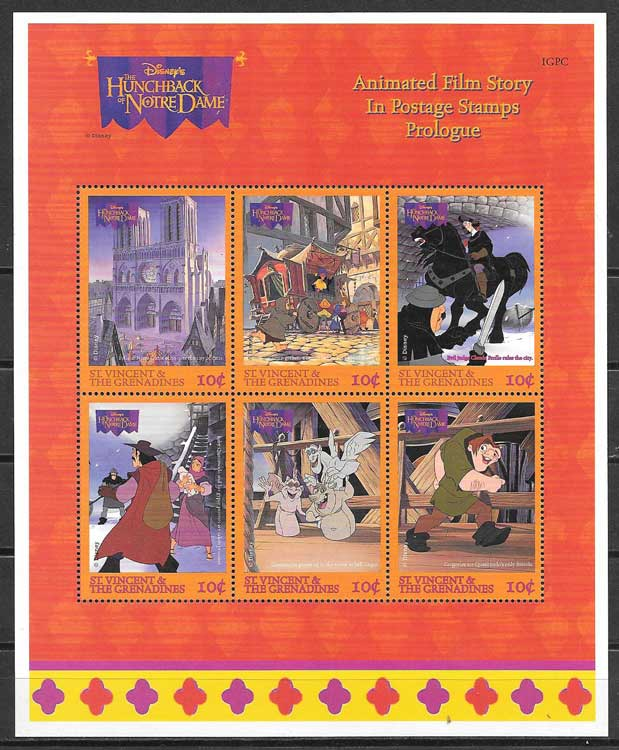 Philately Nothedan Disney The Hunchback of St. Vincent 1996