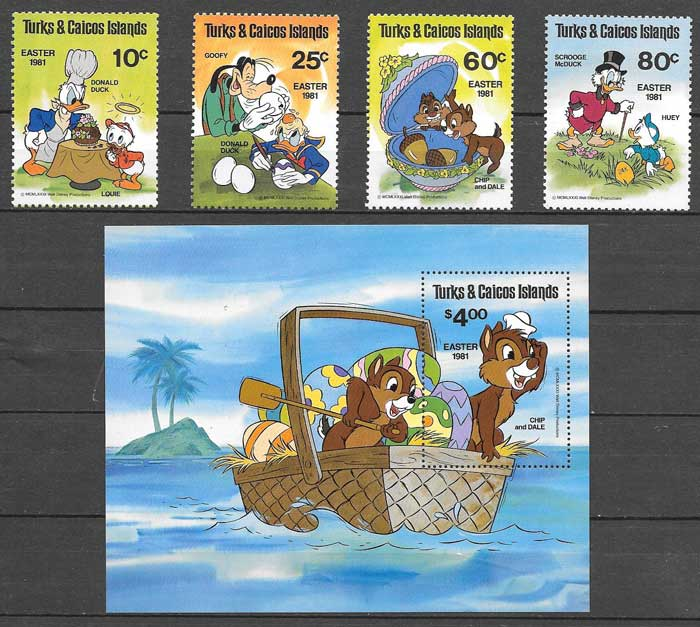 Disney stamps Turks & Caicos 1981 Easter surprises