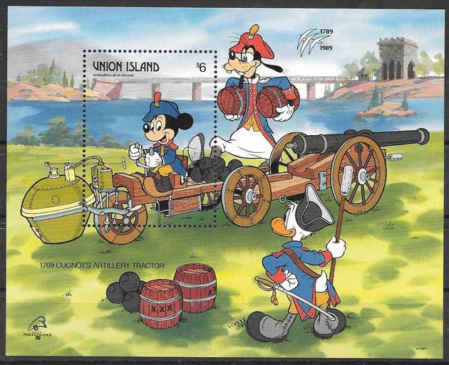 Union Island Disney stamp 1989 Expo France