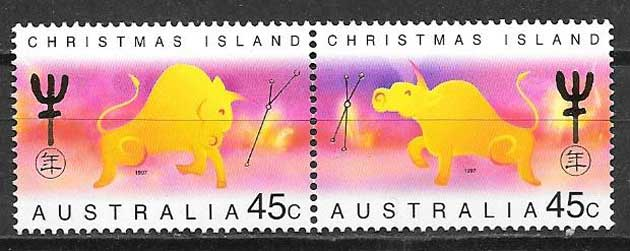Philately Lunar year buffalo Christmas Island 1997