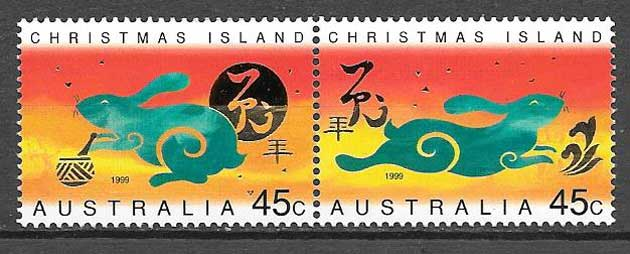 Stamps collection year moon rabbit Christmas Island 1999
