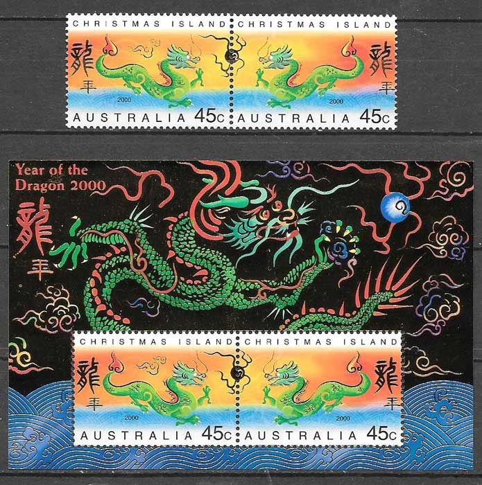Stamps collection year moon dragon Christmas Island 2000