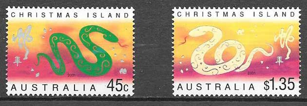 Stamps collection year lunar snake Christmas Island 2001