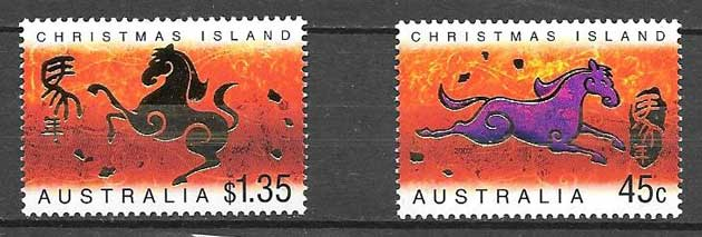 Stamps collection year lunar scaballo Christmas Island 2002