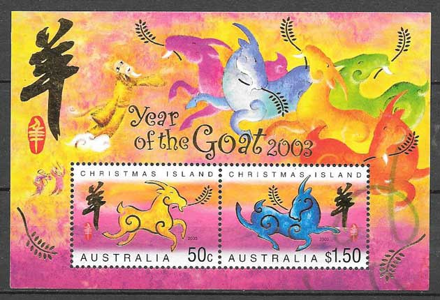 Collection stamps year lunar goat Christmas Island 2003