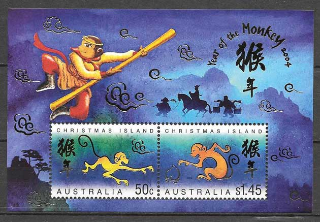Collection stamps year monkey monkey Christmas Island 2004
