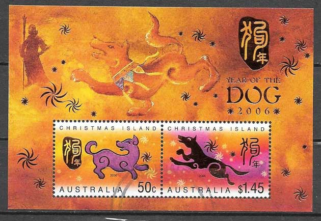 Collection stamps year lunar dog Christmas Island 2006