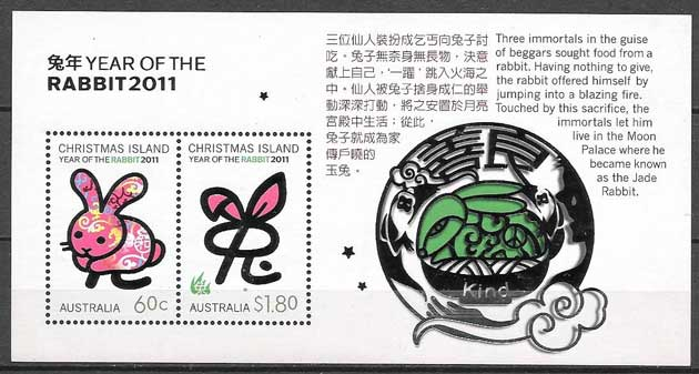Philately Year Lunar Rabbit Christmas Island 2011